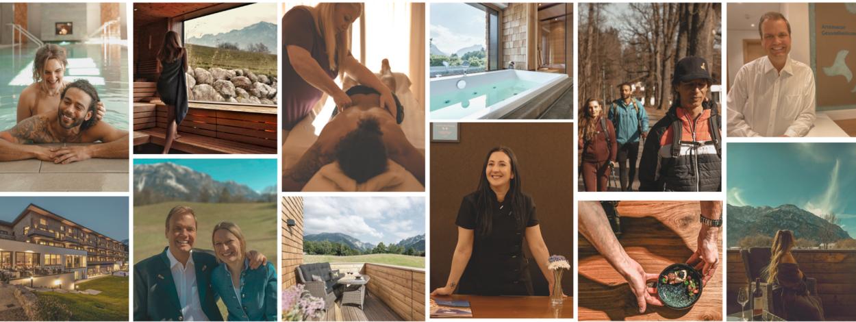 Impressionen aus dem Hotel Klosterhof in Bayerisch Gmain: Anwendungen, Wellnessbereich, Sauna, Zimmer und Aktivitäten